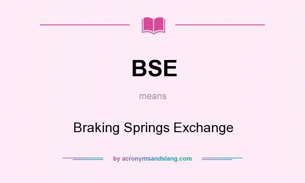 What does BSE mean? It stands for Braking Springs Exchange