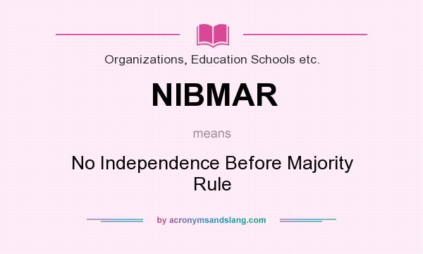 What does nibmar mean definition of nibmar nibmar for Rule of three meaning