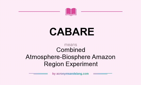 What does CABARE mean? It stands for Combined Atmosphere-Biosphere Amazon Region Experiment