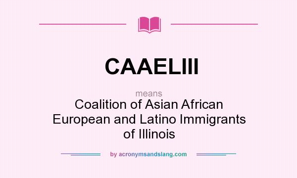 What does CAAELIII mean? It stands for Coalition of Asian African European and Latino Immigrants of Illinois