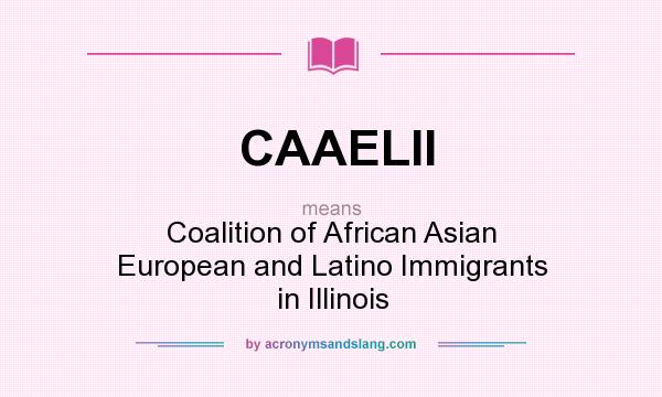 What does CAAELII mean? It stands for Coalition of African Asian European and Latino Immigrants in Illinois
