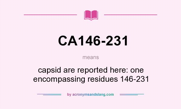 What does CA146-231 mean? It stands for capsid are reported here: one encompassing residues 146-231