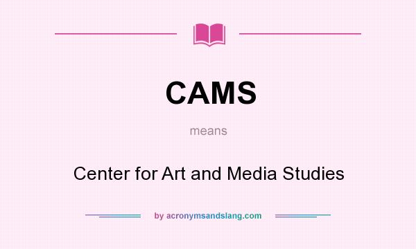 What does CAMS mean? It stands for Center for Art and Media Studies