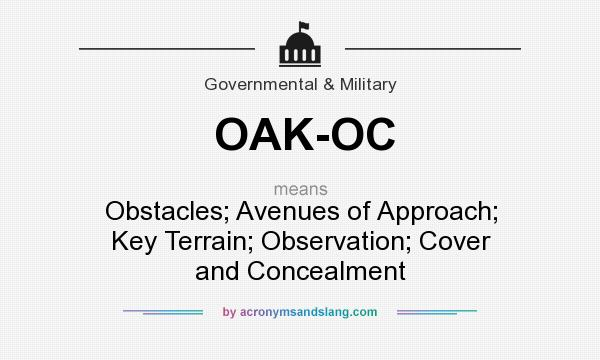 What does OAK-OC mean? It stands for Obstacles; Avenues of Approach; Key Terrain; Observation; Cover and Concealment