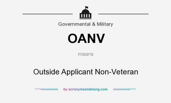 What does OANV mean? It stands for Outside Applicant Non-Veteran