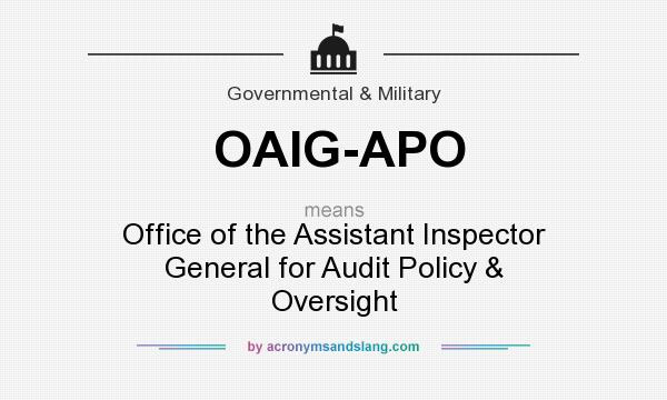 What does OAIG-APO mean? It stands for Office of the Assistant Inspector General for Audit Policy & Oversight