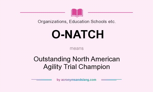What does O-NATCH mean? It stands for Outstanding North American Agility Trial Champion