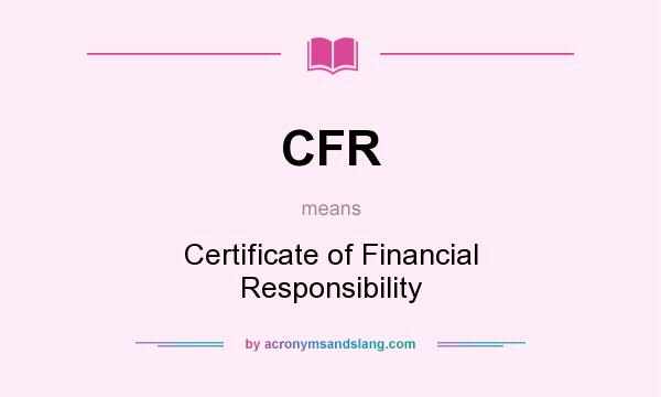 CFR - Certificate of Financial Responsibility in Undefined by ...