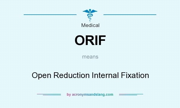 What does ORIF mean? It stands for Open Reduction Internal Fixation