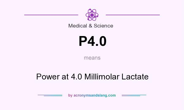 What does P4.0 mean? It stands for Power at 4.0 Millimolar Lactate