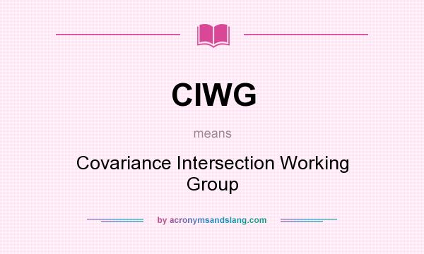 What does CIWG mean? It stands for Covariance Intersection Working Group