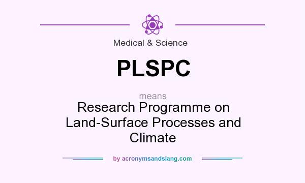What does PLSPC mean? It stands for Research Programme on Land-Surface Processes and Climate