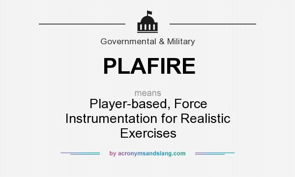 What does PLAFIRE mean? It stands for Player-based, Force Instrumentation for Realistic Exercises