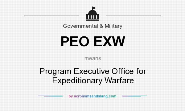 What does PEO EXW mean? It stands for Program Executive Office for Expeditionary Warfare