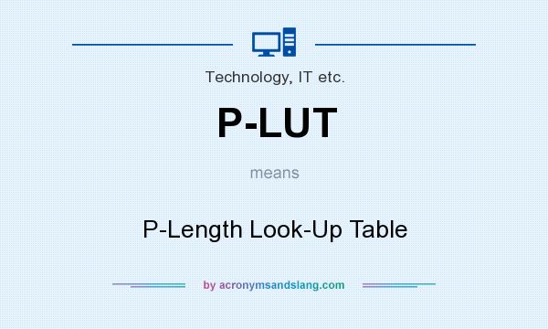 What does P-LUT mean? It stands for P-Length Look-Up Table