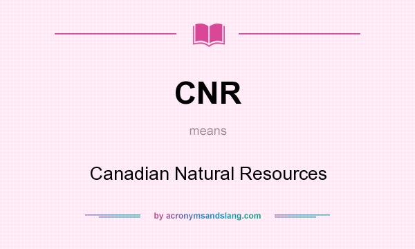 What does CNR mean? It stands for Canadian Natural Resources
