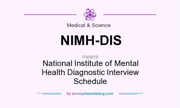 What does NIMH-DIS mean? It stands for National Institute of Mental Health Diagnostic Interview Schedule