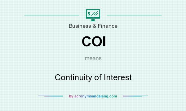 What does COI mean? It stands for Continuity of Interest