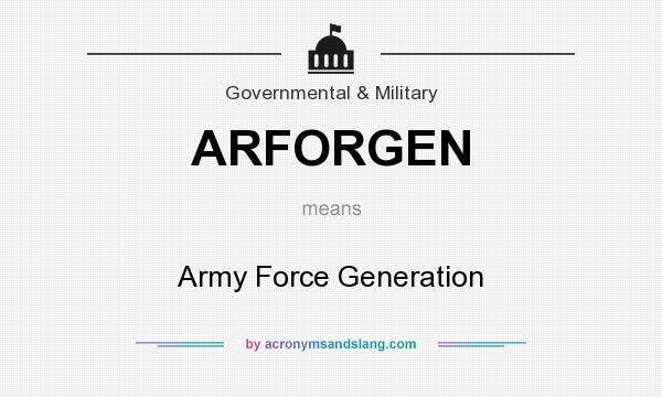 What does ARFORGEN mean? It stands for Army Force Generation