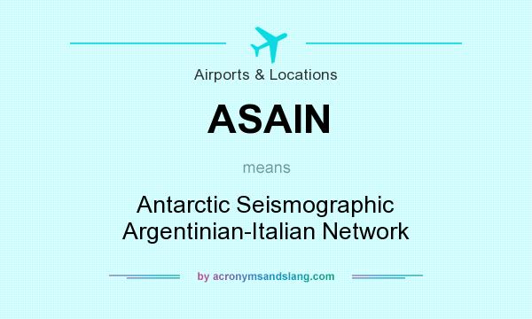What does ASAIN mean? It stands for Antarctic Seismographic Argentinian-Italian Network