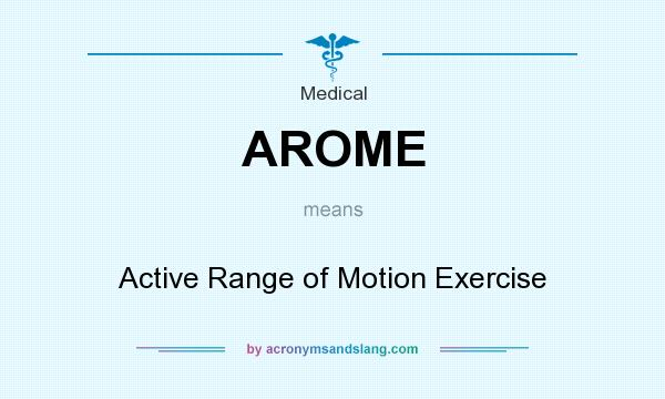 What does AROME mean? It stands for Active Range of Motion Exercise