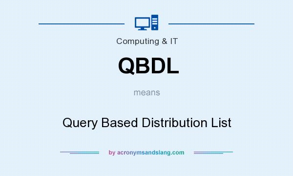 What does QBDL mean? It stands for Query Based Distribution List