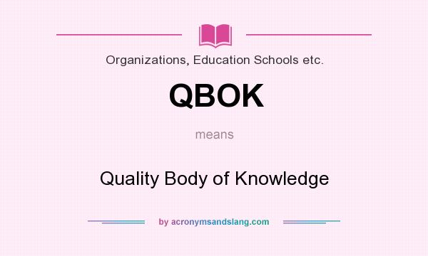 What does QBOK mean? It stands for Quality Body of Knowledge