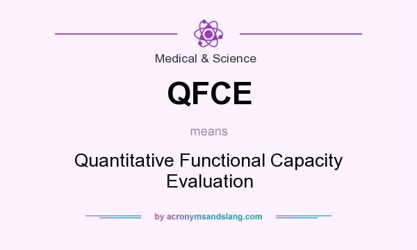 What does QFCE mean? It stands for Quantitative Functional Capacity Evaluation