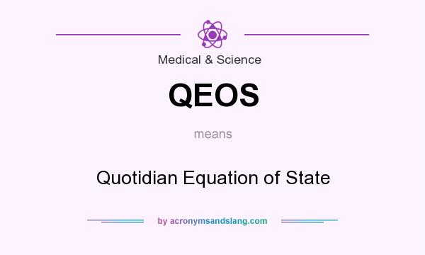 What does QEOS mean? It stands for Quotidian Equation of State