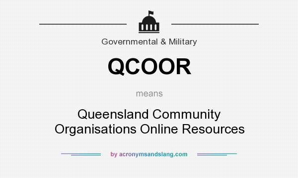 What does QCOOR mean? It stands for Queensland Community Organisations Online Resources