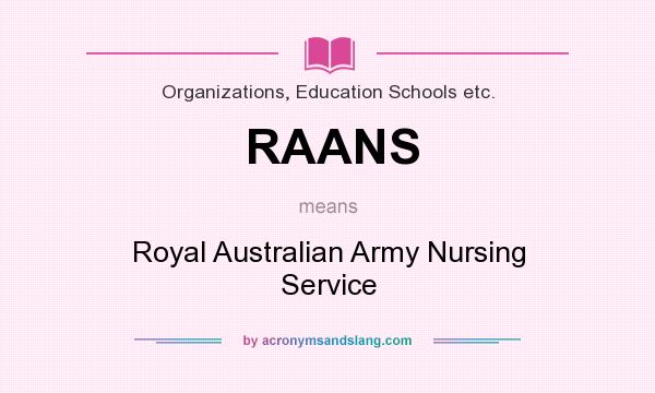 What does RAANS mean? It stands for Royal Australian Army Nursing Service