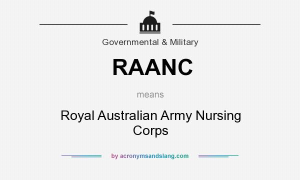 What does RAANC mean? It stands for Royal Australian Army Nursing Corps