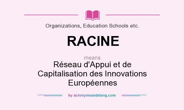 What does RACINE mean? It stands for Réseau d`Appui et de Capitalisation des Innovations Européennes
