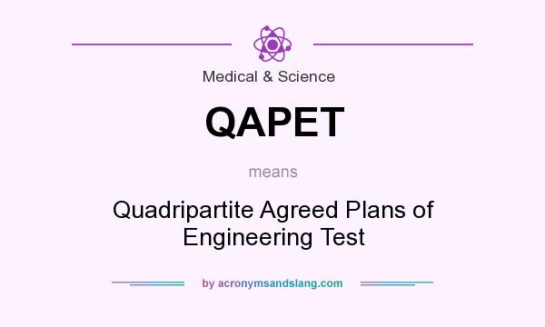 What does QAPET mean? It stands for Quadripartite Agreed Plans of Engineering Test