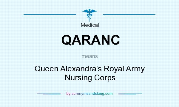 What does QARANC mean? It stands for Queen Alexandra`s Royal Army Nursing Corps