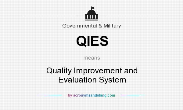 What does QIES mean? It stands for Quality Improvement and Evaluation System