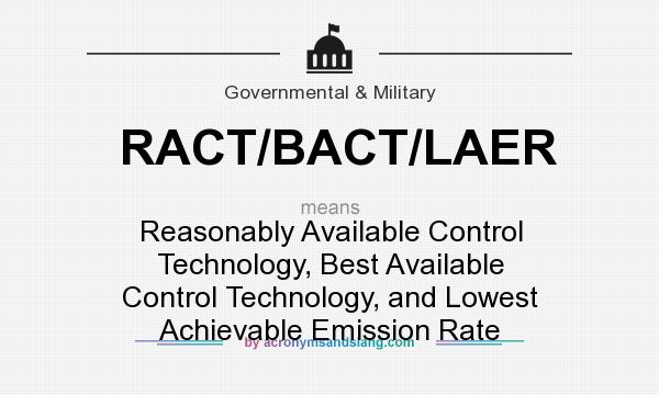 What does RACT/BACT/LAER mean? It stands for Reasonably Available Control Technology, Best Available Control Technology, and Lowest Achievable Emission Rate