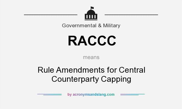 What does RACCC mean? It stands for Rule Amendments for Central Counterparty Capping