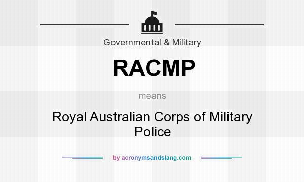 What does RACMP mean? It stands for Royal Australian Corps of Military Police