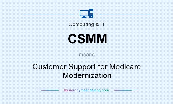 What does CSMM mean? It stands for Customer Support for Medicare Modernization