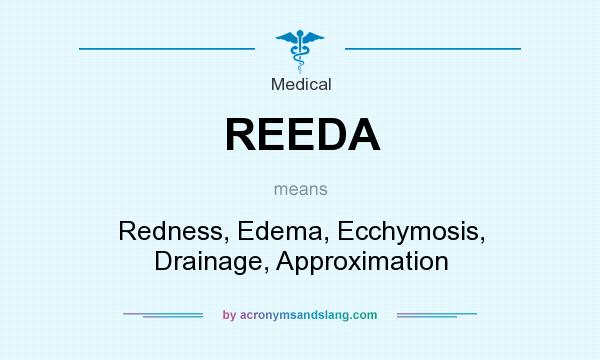 What does REEDA mean? It stands for Redness, Edema, Ecchymosis, Drainage, Approximation
