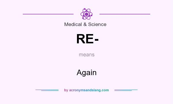 What does RE- mean? It stands for Again