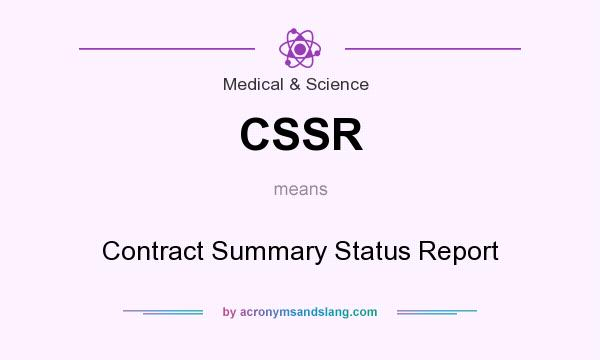 What does CSSR mean? It stands for Contract Summary Status Report