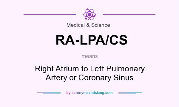 What does RA-LPA/CS mean? It stands for Right Atrium to Left Pulmonary Artery or Coronary Sinus