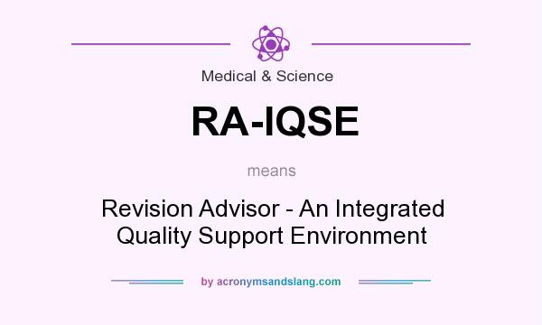 What does RA-IQSE mean? It stands for Revision Advisor - An Integrated Quality Support Environment