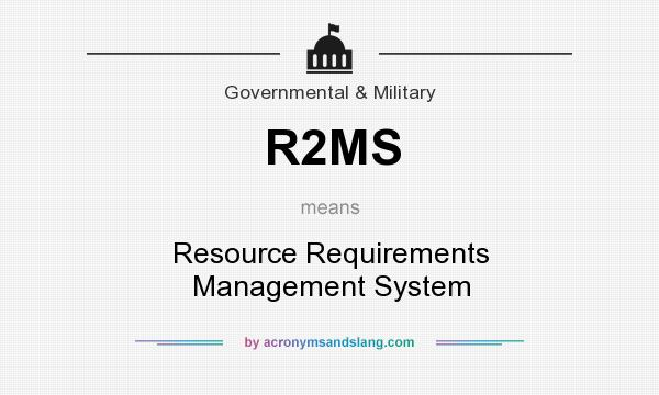 What does R2MS mean? It stands for Resource Requirements Management System