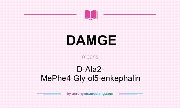 What does DAMGE mean? It stands for D-Ala2- MePhe4-Gly-ol5-enkephalin