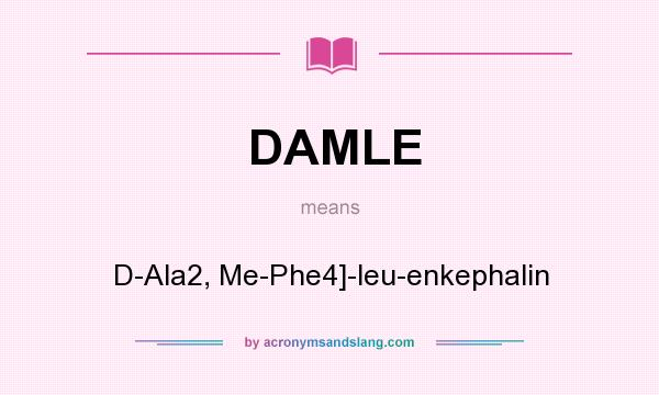 What does DAMLE mean? It stands for D-Ala2, Me-Phe4]-leu-enkephalin
