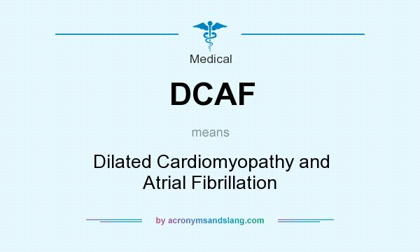 What does DCAF mean? It stands for Dilated Cardiomyopathy and Atrial Fibrillation