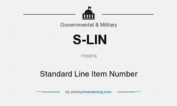 What does S-LIN mean? It stands for Standard Line Item Number